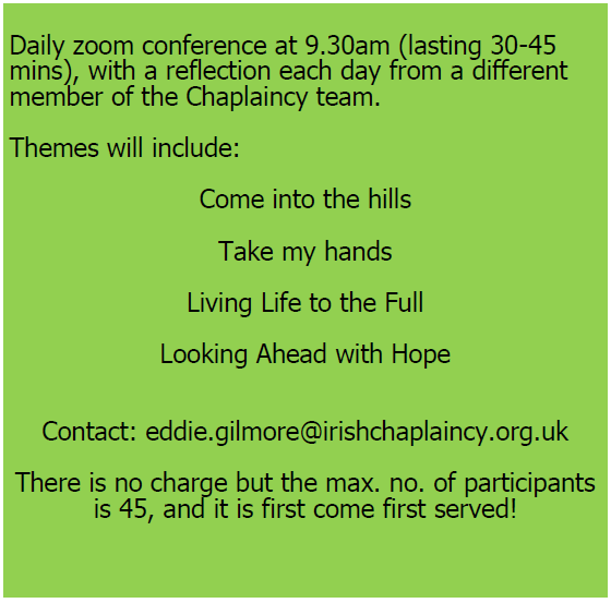Summer Retreat Irish Chaplaincy details