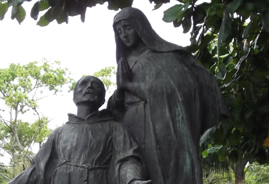 Statue of St Francis and St Clare in Rio De Janerio. Brazil