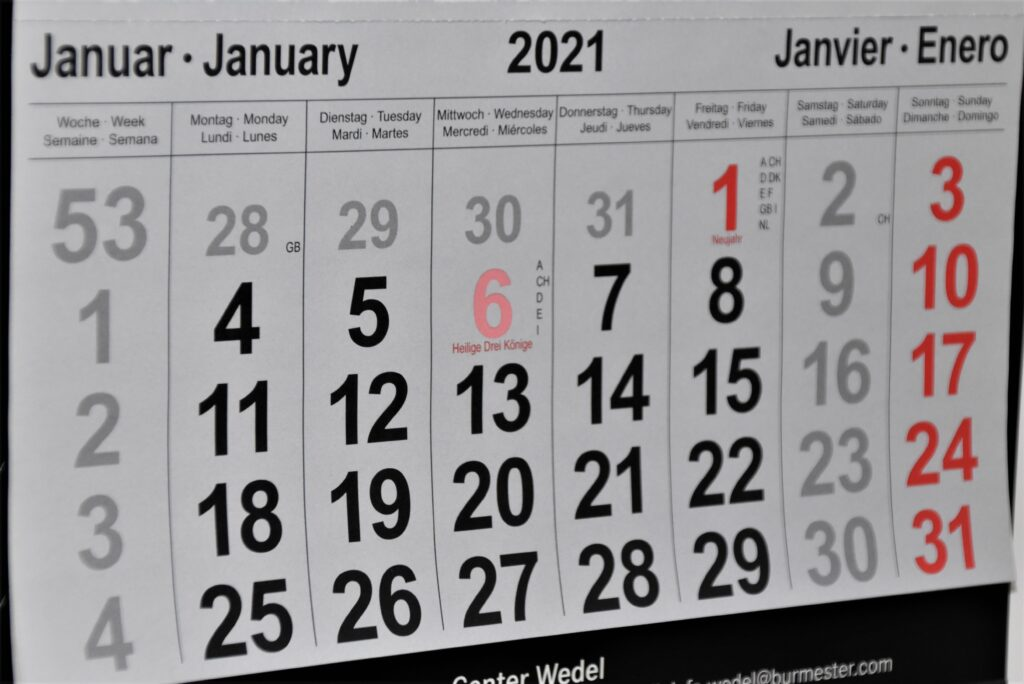January month shown in calendar